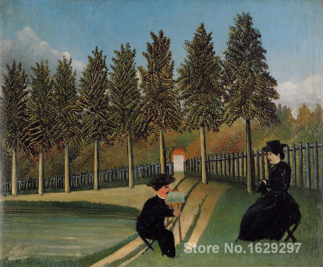 Modern Painting abstract The Artist Painting his Wife by Henri Rousseau Canvas High quality Hand paintedModern Painting abstract The Artist Painting his Wife by Henri Rousseau Canvas High quality Hand painted