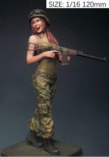 לא צבוע ערכת 1/16 120mm רוסית שמח ילדה 120mm דמות היסטורית שרף איור מיניאטורי ערכת מוסך