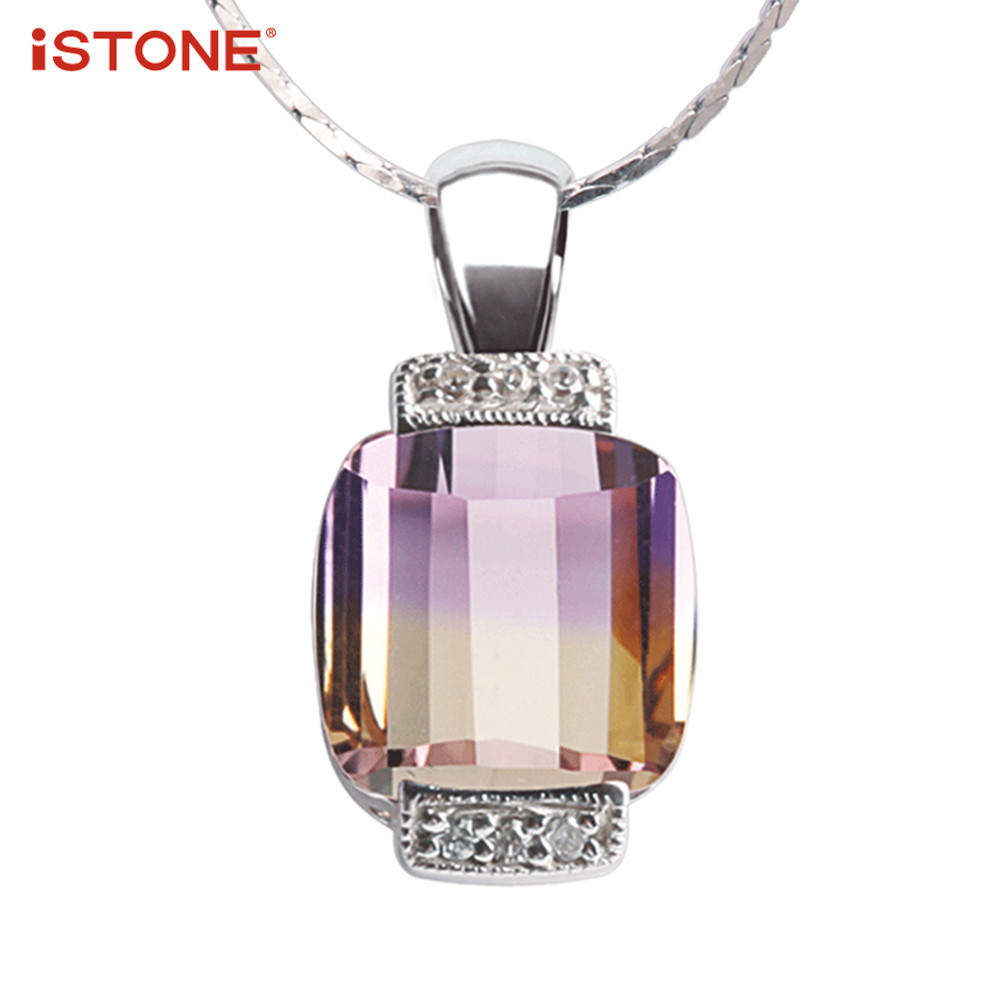 iSTONE 100% Natural Gemstone Ametrine Purple Square Shape Pendant Necklace 925 Sterling Silver Chain Fine Jewelry Gift for lover