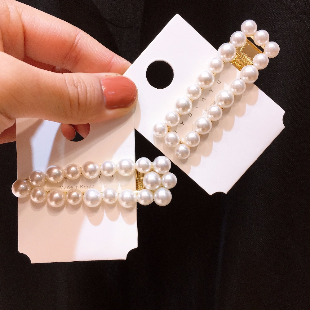 Korea Handmade Solid Simulated pearl Barrettes Hairpins Hair clips for Women Head wear Accessories-SWAWHRP040C5