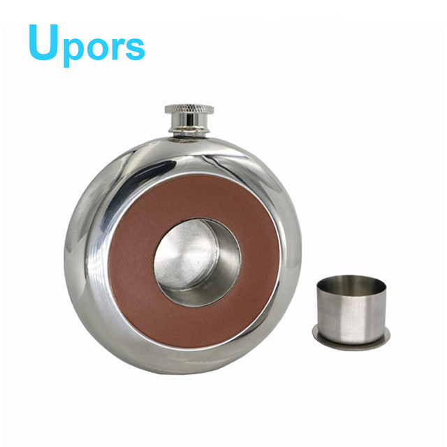 UPORS Personalized 5 oz 304 Stainless Steel Hip Flask Set for Alcohol Liquor Whiskey Wine Bottle Leather With Cup