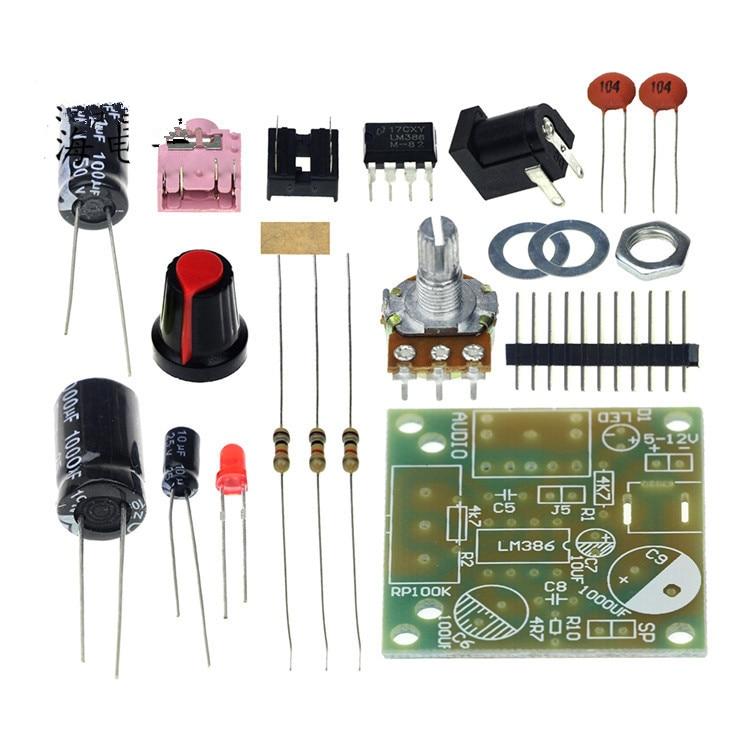 все цены на Free shipping 1set DIY Kit LM386 Super Mini Audio Amplifier DIY Kit Suite Trousse LM386 Amplificador Module Board 3.5mm 3-12V онлайн