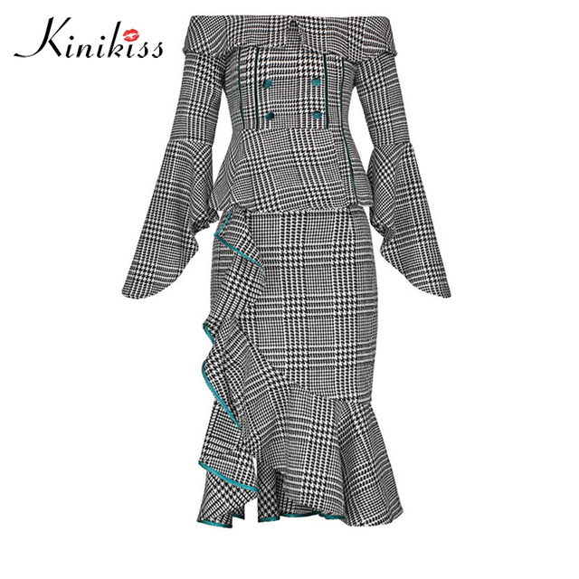 Kinikiss Women Vintage Elegant Suits Houndstooth 2 Piece Set Off Shoulder  Blouse Tops & Mermaid Skirt