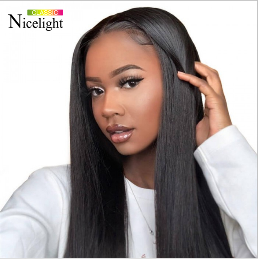 Nicelight 2x4 Lace Front Human Hair Wig U Part Straight Frontal Wig Peruvian Straight Frontal Hair Wig Weave 150% Density14