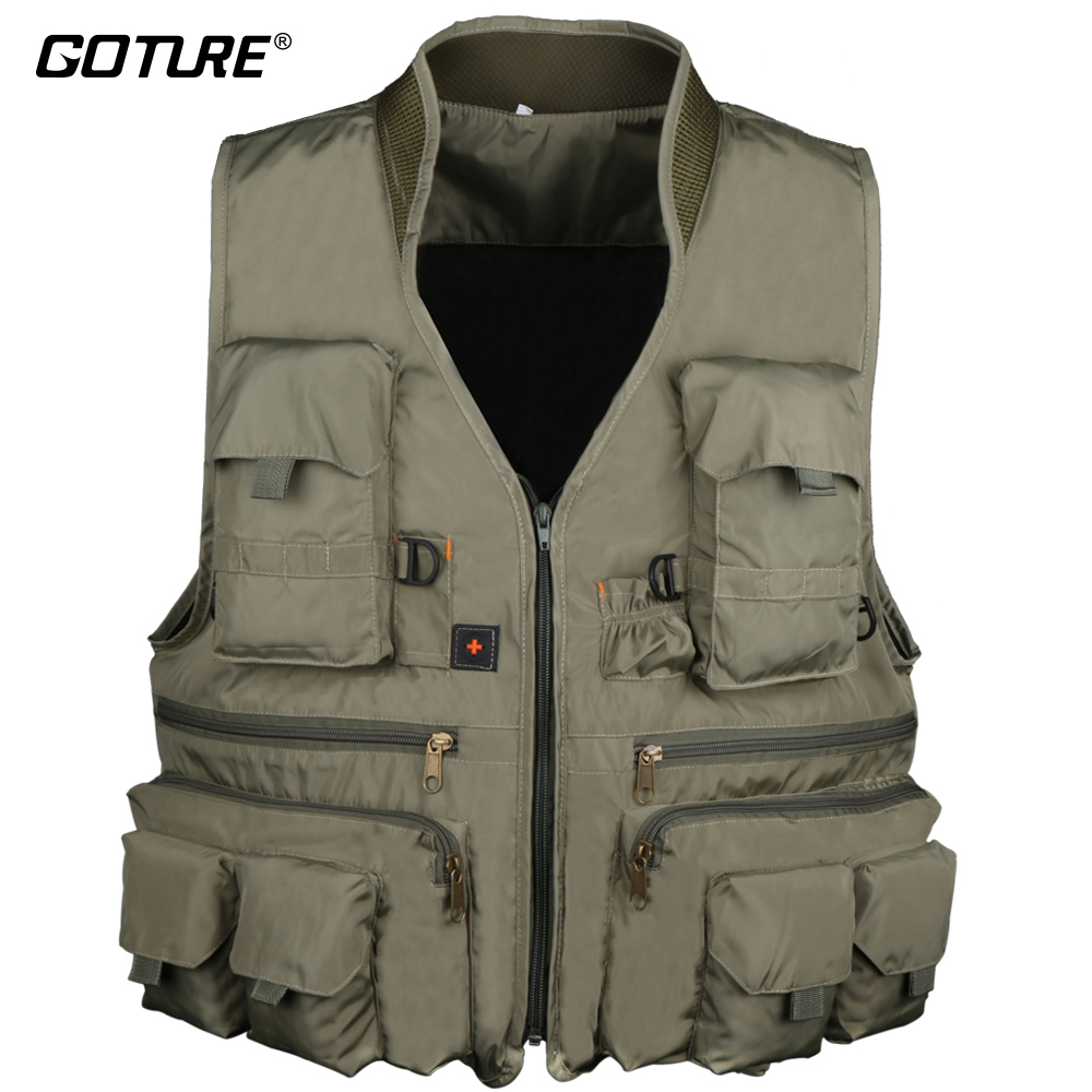 Goture Cotton Fly Fishing Vest With Meshing Lining L/XL/XXL Waistcoat Jacket Ice Vest For Angler Men Fishing Jackets adjustable pro safety equestrian horse riding vest eva padded body protector s m l xl xxl for men kids women camping hiking