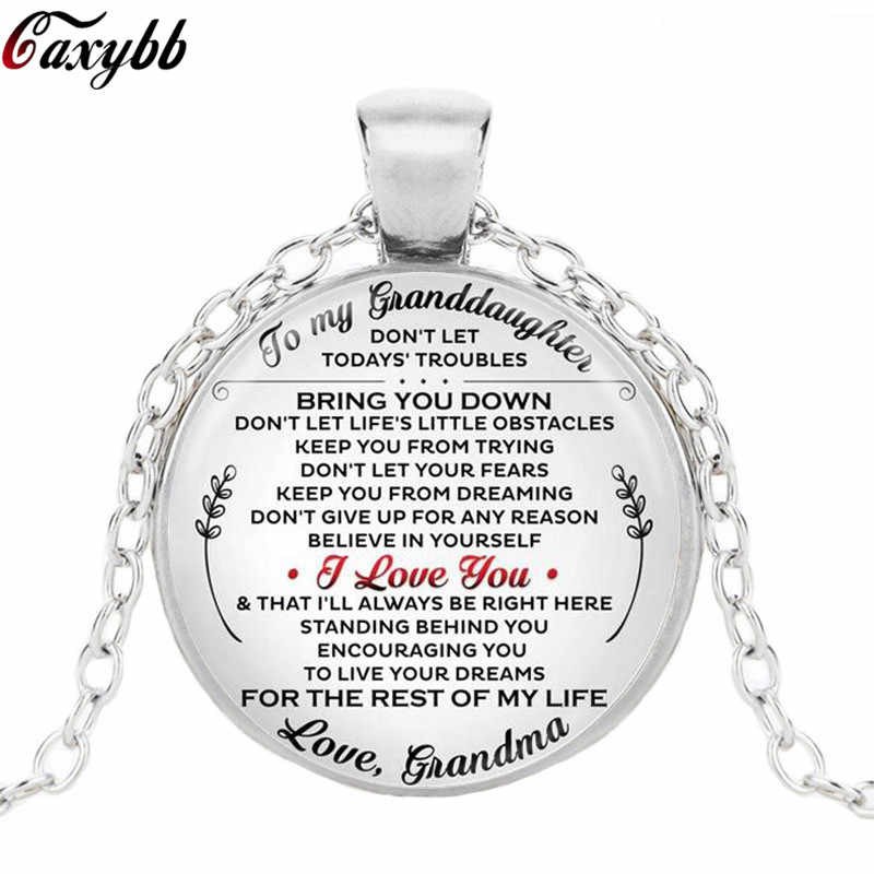 Charms Birthday Gift Grandma To Granddaughter Letter Picture Glass Cabochon Pendant Handmade Long Necklace Jewelry Bijoux