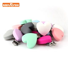 Keep&grow 100Pcs Heart Shape Pacifier Clips Food Grade Silicone Holder DIY Baby Teether Chain Accessories Nipple Clasp
