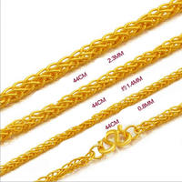 Pure Yellow Gold Wheat Chain Necklace/ Best 999 gold 24K Necklace Chain 3.6g new arrival