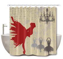 LB Ballerinas Girl Over A Grunge Artistic Shower Curtain With Mat Set Extra Long Waterproof Bathroom Fabric For Bathtub Decor