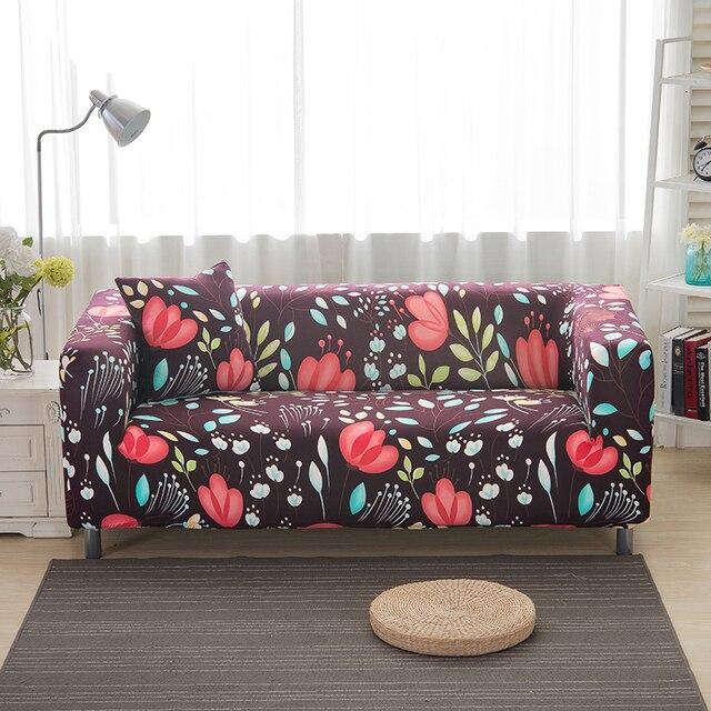 Sofa Covers Elastic Spandex Flower Leaves Printed Burgundy Polyester Protector Pattern V20