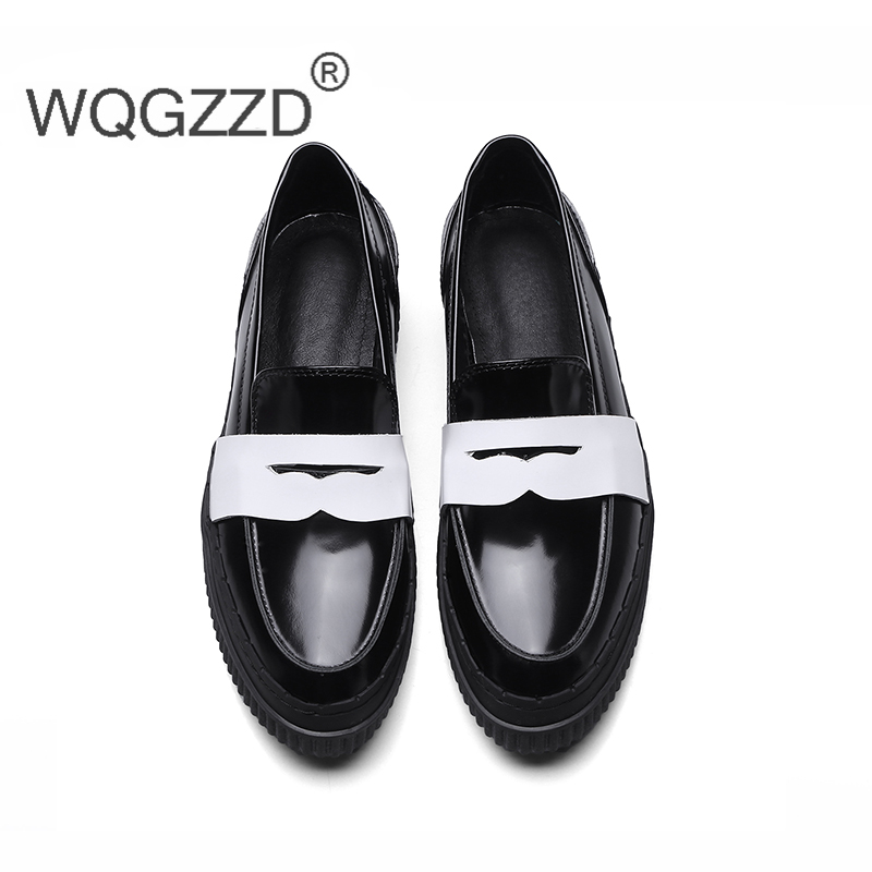 Chaussures femme flat platform shoes women s loafers genuine leather mix color slip on flats loafers