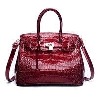 2018 New Women Handbags Casual Tote Crocodile Print Patent Leather Alligator Crossbody Purse Lock Zipper Bag Burgandy Blue Black