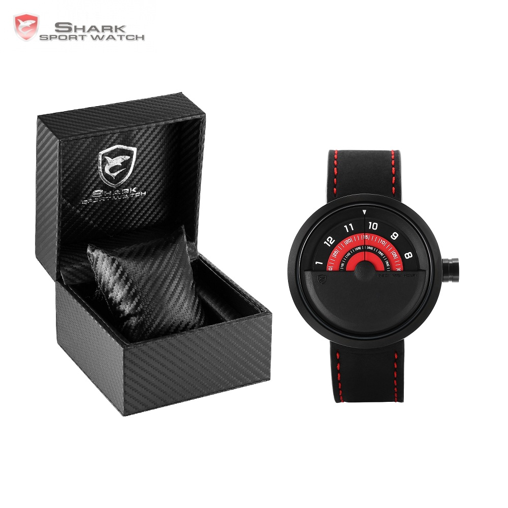Luxury Leather Box Bonnethead Shark Sport Watch New Turntable Dial Quartz Crazy Horse Leather Design Men Wrist Watches/SH421-425 greenland shark 2 series sport watch new design red date crazy horse leather quartz clock men watches reloj hombre gift sh454