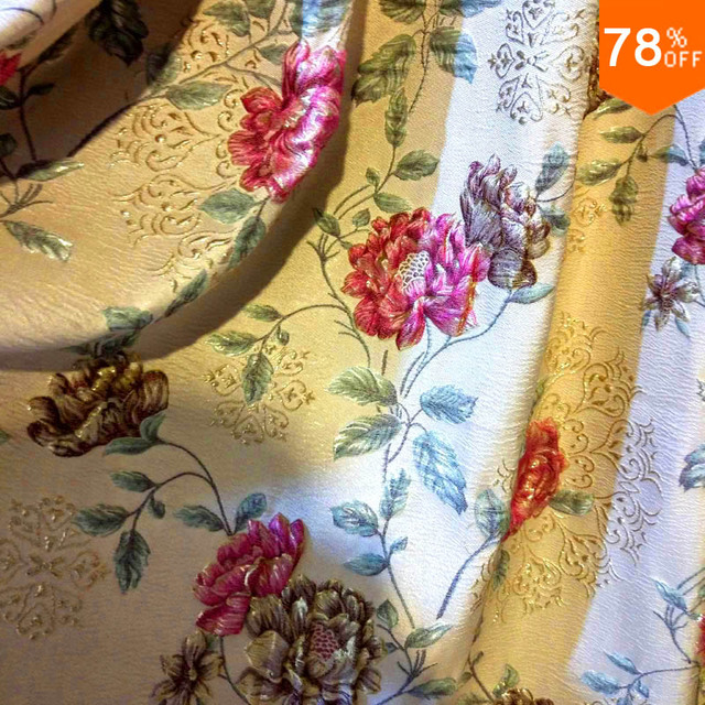 2017 3D embroidery modern simple european fashion jacquard curtain Big Red flower quality thickening curtain cloth fabric Only
