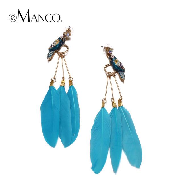 Emanco 3 cor elegante esmalte bird feather gota dangle brincos para mulheres banhado a ouro acessórios da marca de jóias