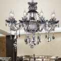 8 10 18 bulb European smoke gray crystal Chandelier lighting candle lustre cristal sala para dining room suspension luminaire