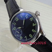 44mm Parnis black dial 6497 Hand Winding Mechanical men's watches