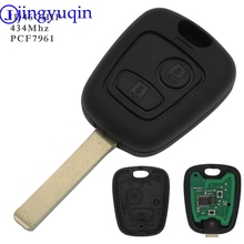 jingyuqin 10ps 2 Buttons 433MHZ With PCF7961 Chip Remote Car Key Control Keyless For Peugeot 307 Citroen C1 C3 VA2 Blade
