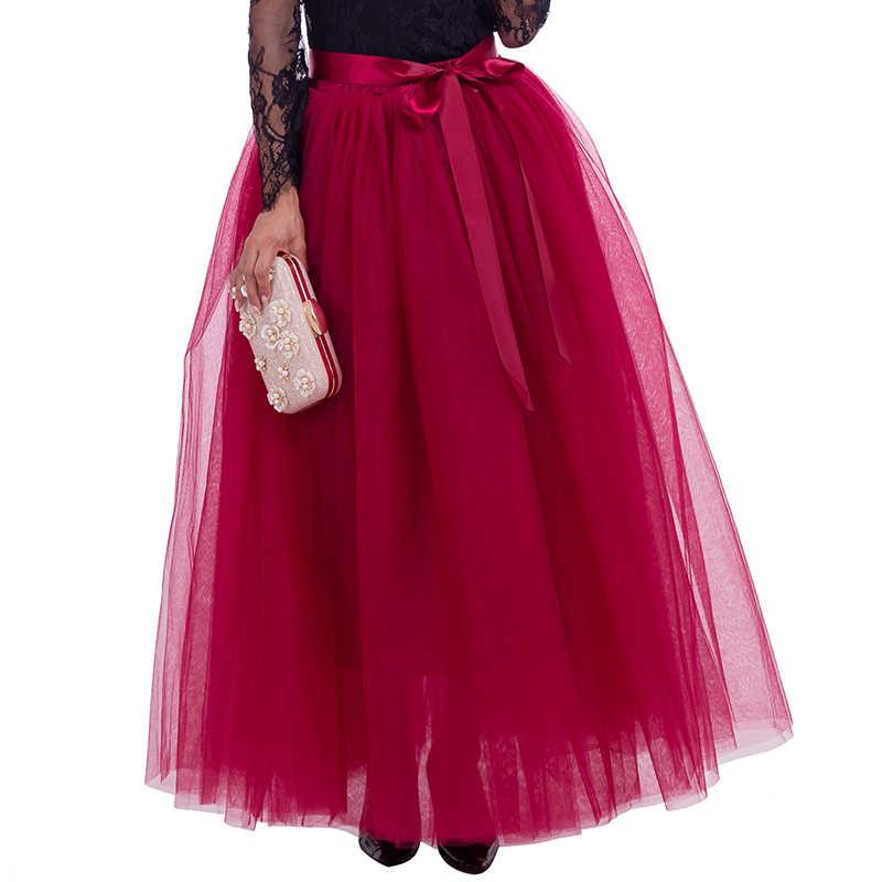 7 capas 100cm Faldas de tul largas mujeres Falda plisada hasta el suelo de moda Boda nupcial dama de honor falda Jupe en Saias