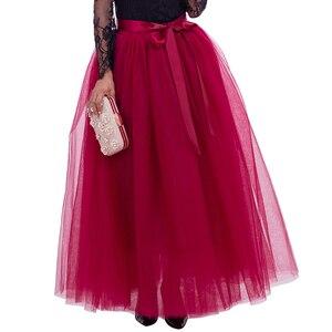 Image 3 - Saias de tule longas femininas, 7 camadas, 100cm, comprimento do chão, saia plissada, moda de casamento, dama de honra saias