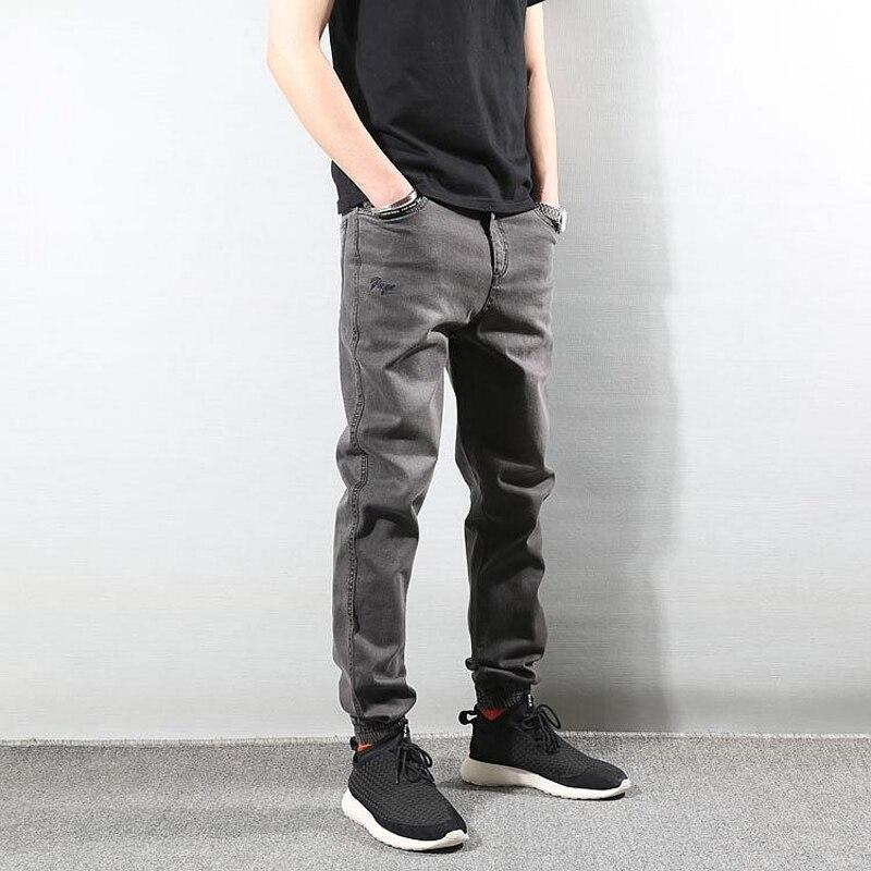 Japanese Style Fashion Men Jeans Gray Vintage Denim Cargo Pants Harem Jeans Streetwear Joggers Slack Bottom Hip Hop Jeans Men