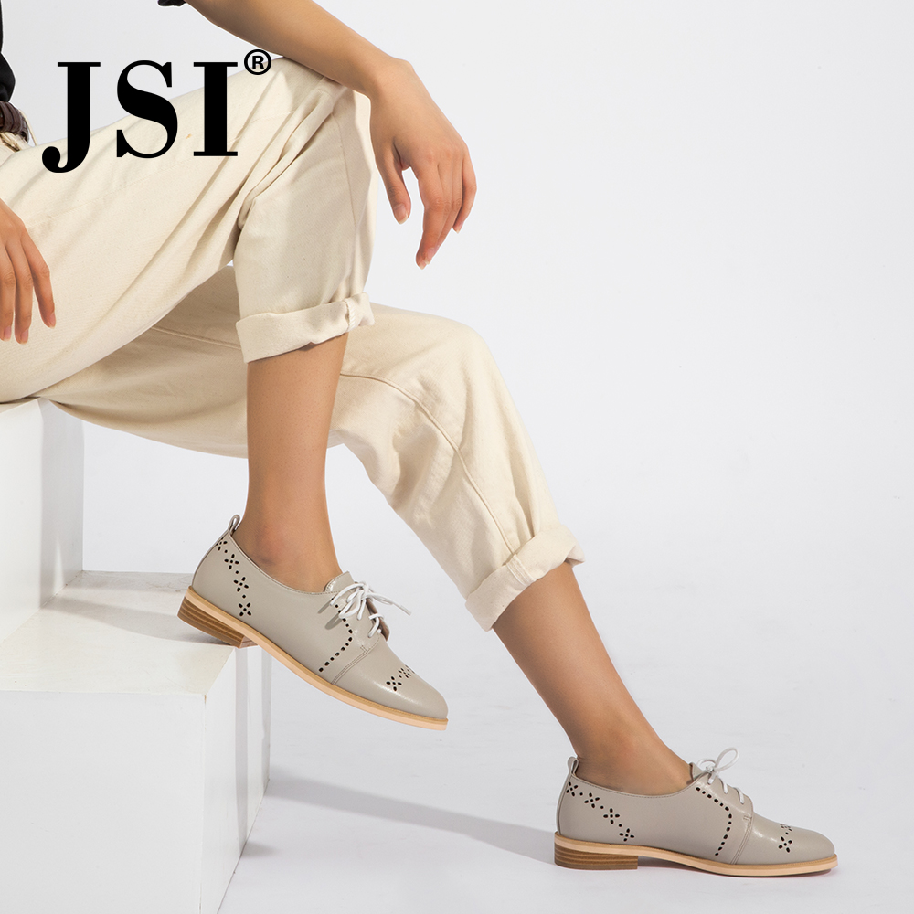 JSI 2019 Spring New High quality Genuine Leather Woman Casual Lace up Basic Flats Cross tied