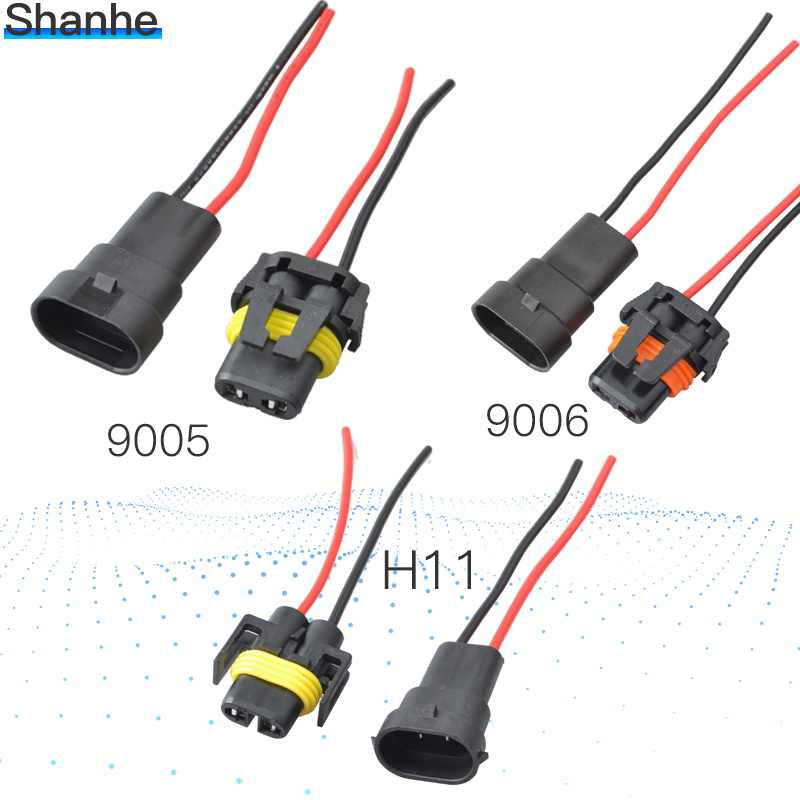 9005 9006 H11 2 Pin Way auto connector Waterproof Electrical Wire Connector Plug Female Male with wires