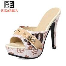 Купить с кэшбэком RizaBina Women High heel Sandals Fashion Platform Slippers Crystal Rivets Party Wedding Shoes Women Daily Footwear Size 33-43