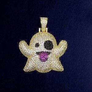 Image 5 - Hayalet kolye & kolye ile 4mm tenis zinciri altın rengi Bling kübik zirkon erkek Hip hop kaya takı
