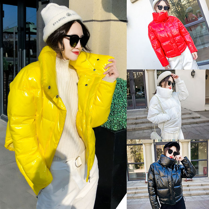2019 Glossy Winter Down Cotton Padded Jacket For Women Thick Bright Black Short Shiny Jacket Yellow