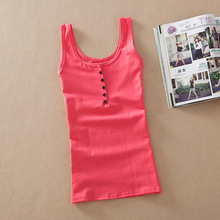 2016 New Arrival Women Fashion casual Solid Cotton Sleeveless Vest Tank Tops t shirt Candy Color Basic