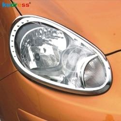 Dla Nissan March Micra 2011 2012 ABS chrom lampa przednia szef reflektorów pokrywa tapicerka Auto części Car Styling akcesoria 2 sztuk