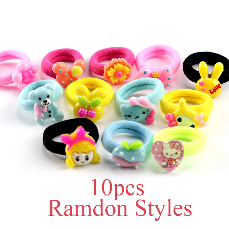 10PCS/Lot Little Girls Cartoon Elastic Hair Band Candy Color Hair Rope Kid Resin Headband Children Gift Hair Accessories Tie Gum hot sale hair accessories headband styling tools acessorios hair band hair ring wholesale hair rope