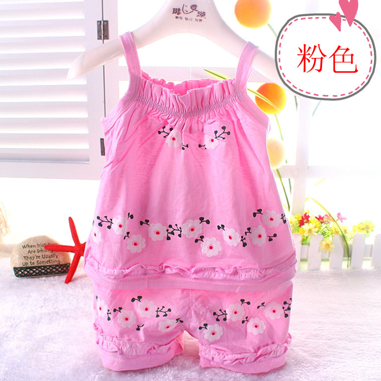 Baby Outfits Summer Sleeveless Kids Blossom Floral Print TasselTop+Shorts
