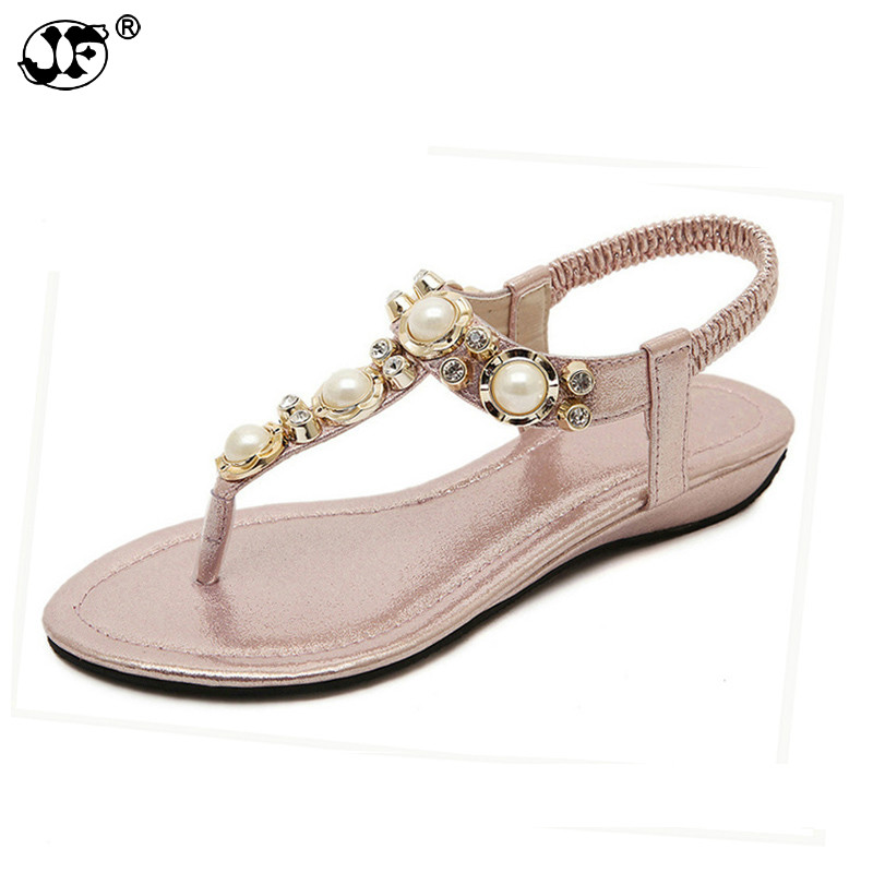 Summer Sandals Women Fashion Beading PU Leather Platform Wedges Sandals Female Shoes Woman 4 Colors Size 35-40 442