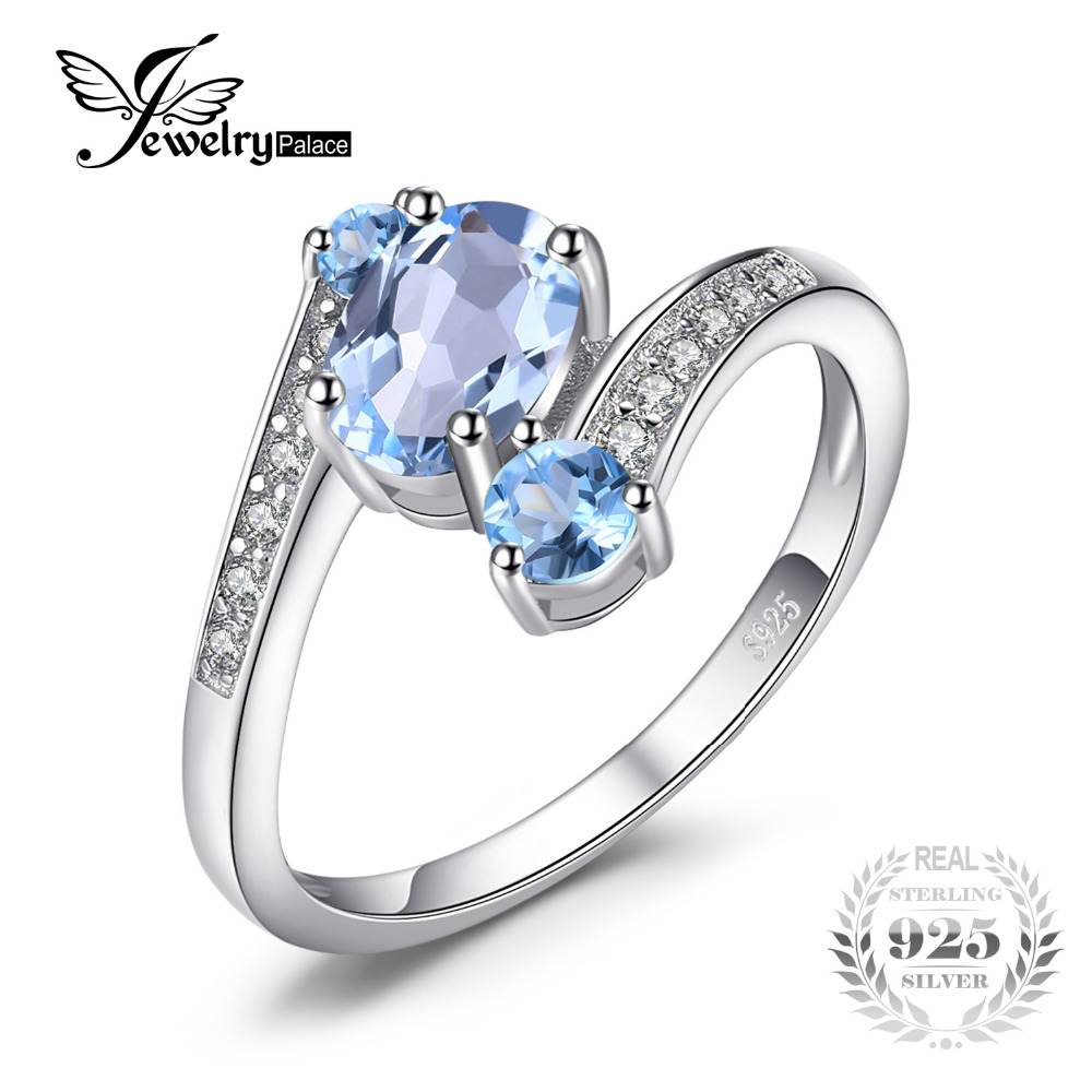 JewelryPalace 2 48ct Natural Sky Blue Topaz Gemstone Ring Pure Solid Genuine 925 Sterling Silver Vintage