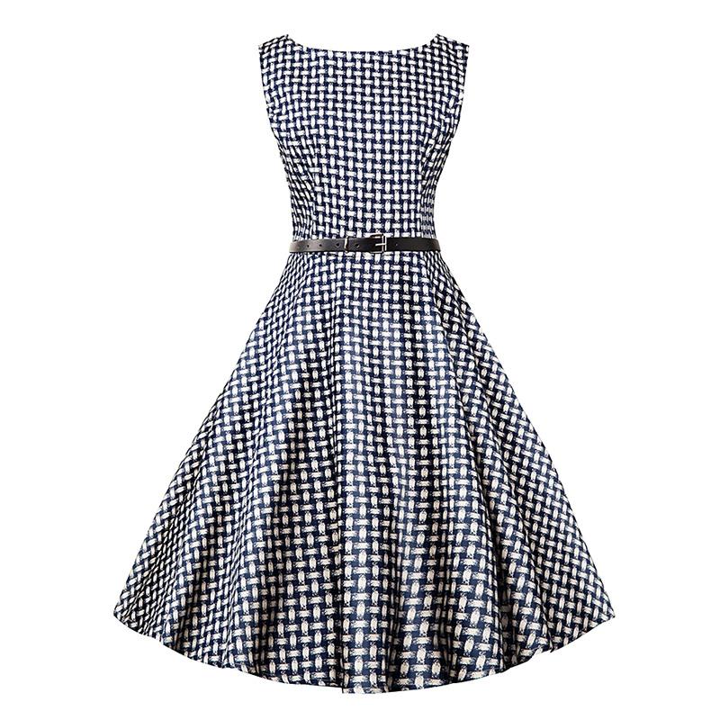 Kostlish Elegant Print Women Summer Dress Sleeveless Cotton Hepburn 50s 60s Vintage Dress With Belt Casual A-Line Ladies Dresses (58)