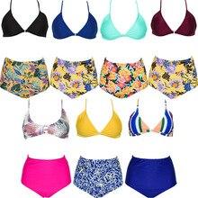 High Waist Bikini Women Bathing Suits Floral Printing Swim Bottoms Padded Halter Bandage Two Piece Swimsuit