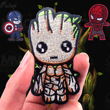Pulaqi Guardians Of The Galaxy Sticker Sewing Iron On Patches Avengers Tree Man Groot For Kids  DIY Clothing Decoration F