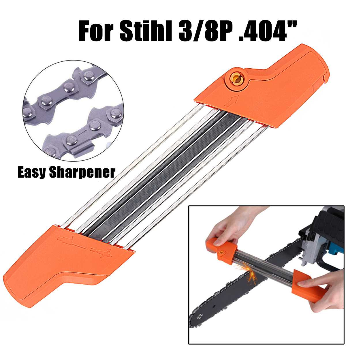 2 IN 1 Easy Chainsaw Chain File Sharpener 5.2mm 13/64 3/8P .404