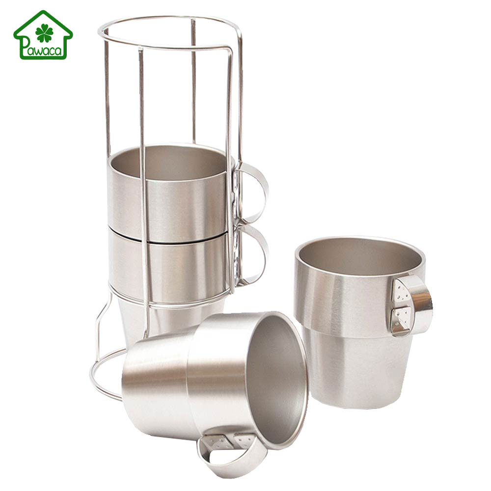 4pcsset Brief Stainless Steel Coffee Mug Solid Color Coffee