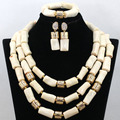 Crema Blanca de Coral Conjuntos de Collar de Oro Declaración beads Africanos Joyería de La Boda Dubai Envío Libre Juego de Regalo CNR460