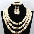 Creme Branco Conjuntos de Colar Banhado A Ouro Declaração de contas de Coral Africano Conjunto de Jóias De Casamento Dubai CNR460 Presente Frete Grátis