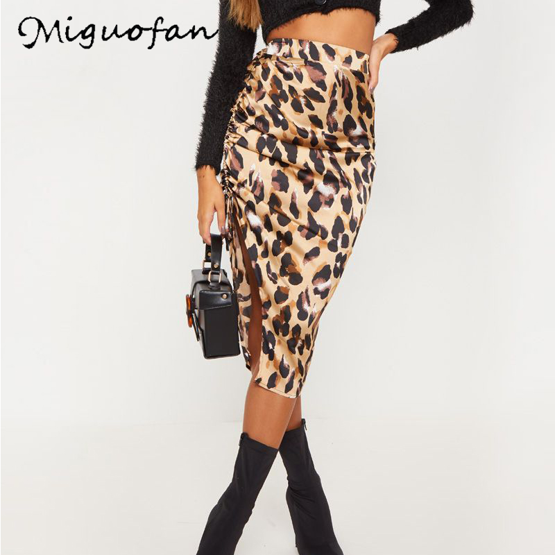 Miguofan Skirt Simple Leopard Printed Tight Split Women's Skirt Brief Lace up High Waist 2019 Fashion Woman Skirts