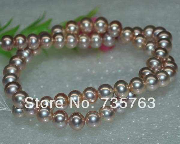 Xiuli 000119特別自然玉虫色パープルaaa + + 8-9ミリメートル近くラウンドパン真珠