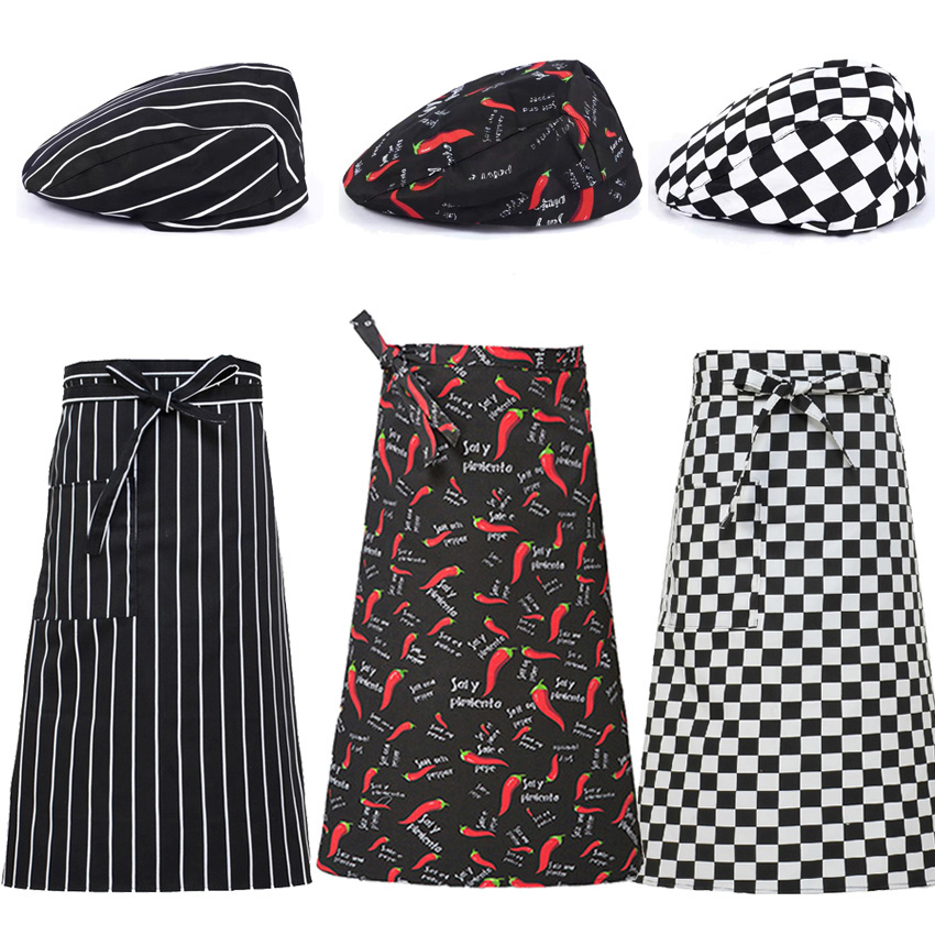 Restaurant Kitchen Chef Uniform Apron Cap Food Service Adjustable Bakery Cook Chili Striped Solid Elastic Chef Aprons Workwear