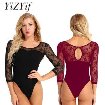 YiZYiF למבוגרים בלט בגד גוף כותנה שחור תחרה שרוולים בלט ריקוד בגד גוף בגד גוף צורת ללבוש התעמלות בלט חליפת עבור נשים