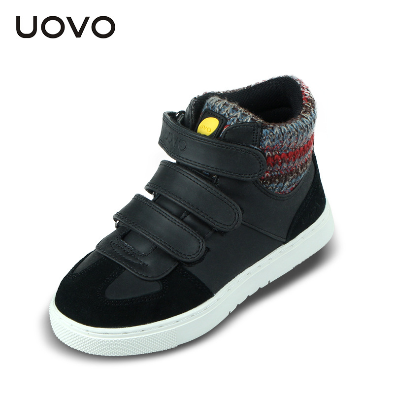 ФОТО 2016 uovo autumn winter children shoes boys girls sport shoes 3 hook loop kids shoes high quality fashion sneakers for kids