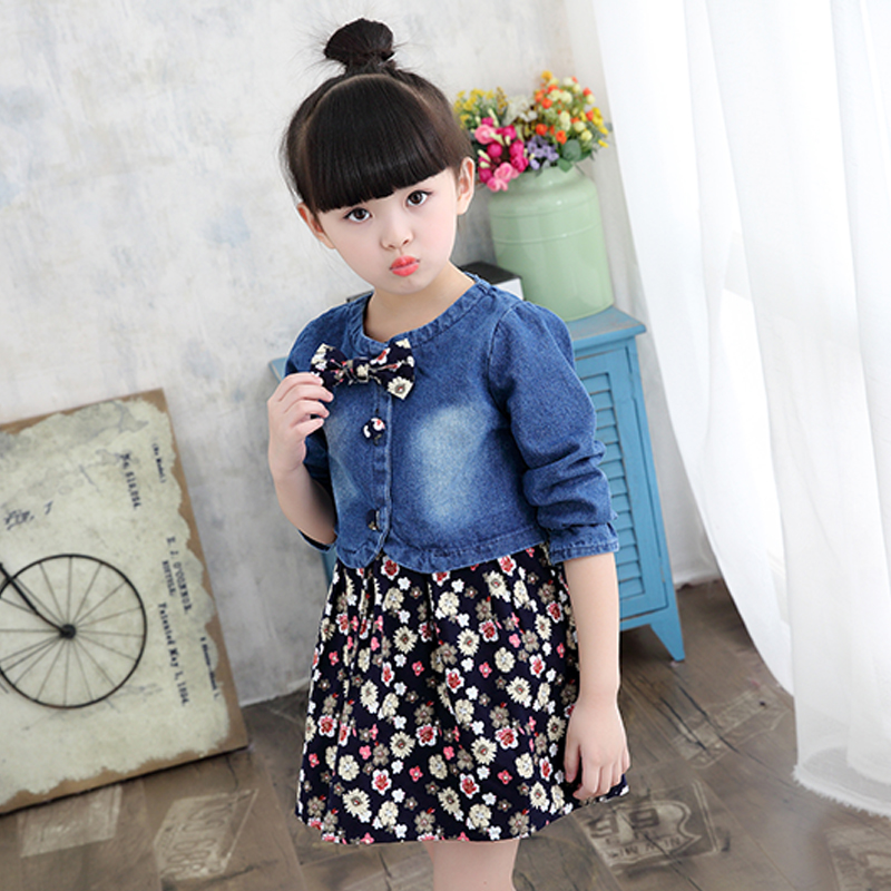 New Arrived Girls Summer Clothes Set Kids Denim Coat and Girl Flower Dress Children Suits Clothing Set Jeans Small Jacket+Dress 2017 new summer kids girls clothing set long sleeve blouse dress cotton baby girls suits set fashion children girl clothes