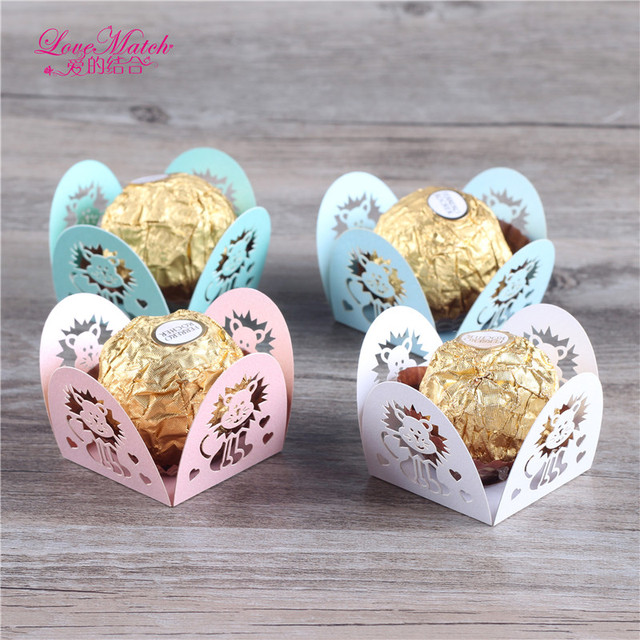 50 Pcs Lions Laser Cut Candy Bar Wedding Favors And Gifts Pearl Paper Chocolate Holder Party